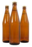 Tre flaskor av öl för kallt öl Arkivfoto