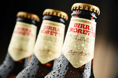 Tre flaskor av Birra Moretti Royaltyfri Fotografi