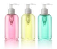 Tre flaskor av vätsketvål Arkivfoton