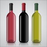 Tre flaskor av vit och rött vin med etiketter stock illustrationer