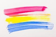 Tre fläckar av primär färg. Arkivfoto