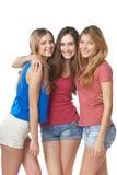 Tre flickavänner arkivbild