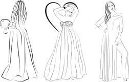 Tre flickor i långa klänningar royaltyfri illustrationer