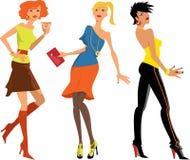 Tre flickor på partiet Arkivbilder