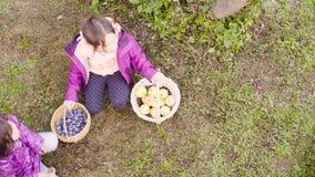 Tre flickor som sitter på gräset Korgar för ett innehav med skörden arkivfilmer