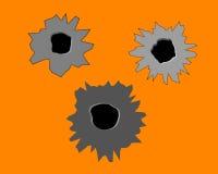 Tre fori di pallottola nella parete Immagini Stock Libere da Diritti