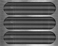 Tre fori nella priorità bassa di piastra metallica di griglia Immagini Stock Libere da Diritti