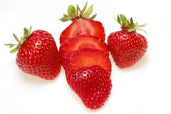 Tre fragole rosse Immagine Stock