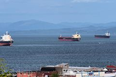 Tre fraktbåtskepp på Columbiaet River Arkivbilder