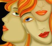 Tre framsidor av kvinnor Royaltyfri Fotografi
