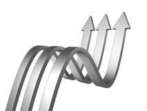 Tre frecce metalliche su una priorità bassa bianca Fotografia Stock Libera da Diritti