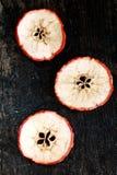 Tre fruktskivor på tabellen Fotografering för Bildbyråer