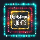 Tre fyrkantiga gränser för julljus av olika färger Fotografering för Bildbyråer