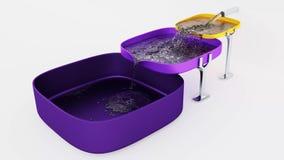 Tre fyrkantiga lila- och gulingbehållare den påfyllning av vatten lager videofilmer