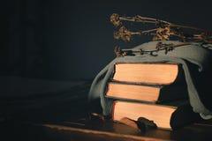 Tre gamla böcker som överst täckas med en torkduk med lögn på tabellen en torr blomma arkivbild