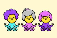 Tre gamla damer för lycklig tecknad filmstil som gör yogavektorillustrationen Royaltyfri Bild