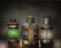 Tre gamla olje- Lnterns Fotografering för Bildbyråer