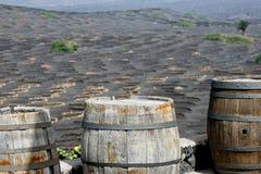 Tre gamla trummor i Lanzarote arkivfoton
