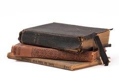 Tre gammala böcker Fotografering för Bildbyråer