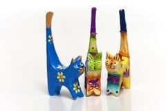 Tre gatti di legno, ricordo greco Fotografia Stock