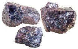 Tre gemme minerali del Cuprite isolate Fotografie Stock Libere da Diritti