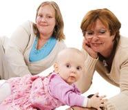 Tre generazioni 16 su bianco Fotografie Stock Libere da Diritti