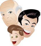 Tre generazioni in retro Immagini Stock