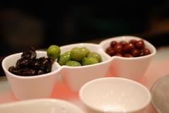 Tre generi di olive Fotografia Stock Libera da Diritti