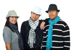 Tre genti alla moda in una riga Fotografia Stock Libera da Diritti