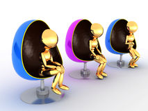 Tre genti che si siedono in chairs#3 Immagini Stock