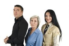 Tre genti di affari allegre Fotografie Stock Libere da Diritti