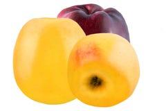 Tre gialli e mele rosse isolate su fondo bianco Fotografie Stock