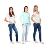 Tre giovani donne casuali Fotografie Stock