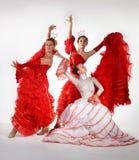 Tre giovani donne che ballano flamenco Fotografia Stock Libera da Diritti