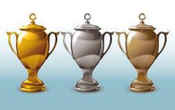 Tre glänsande kopp vektor illustrationer
