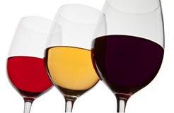 Tre glassrs di vino Immagine Stock