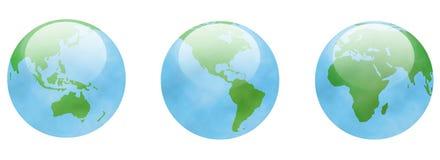 Tre globi Fotografie Stock
