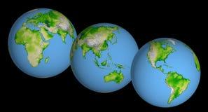 Tre globi Fotografia Stock