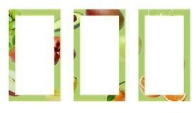 Tre gröna rektangulära ramar som dekoreras med frukter royaltyfri bild