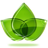Tre gröna sidor Arkivbilder