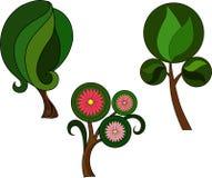 Tre gröna växter med sidor och rosa blommor royaltyfri illustrationer