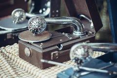 Tre grammofonvisare Fotografering för Bildbyråer