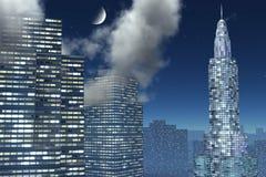 Tre grattacieli nella notte illustrazione di stock