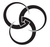Tre gripa in i varandra cirklar av variabel tjocklek för din logo vektor illustrationer