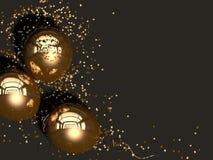 Tre guld- ballonger med guld- konfettilögn på en svart bakgrund Top beskådar Festligt hälsa kort med utrymme för kopia 3d sliter vektor illustrationer