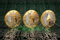 Tre guld- mynt - Bitcoin, dollar och Ethereum Royaltyfria Bilder