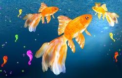 Tre guldfisk och seahorses stock illustrationer