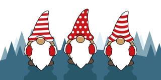 Tre gulliga julgnomer med roliga lock royaltyfri illustrationer
