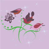 Tre gulliga lilla fåglar Arkivbild