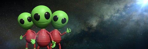 Tre gulliga lilla främmande tecknad filmtecken framme av banret för bakgrund för illustration för Vintergatangalax 3d Arkivfoto